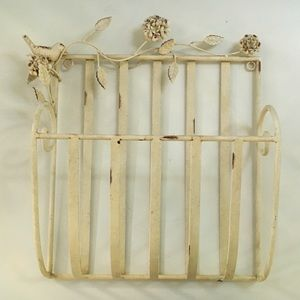 Vintage Magazine Rack Hanging Metal Toile French